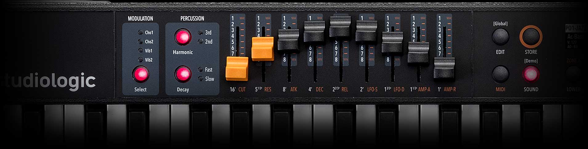 Numa Compact 2x synth and  organ drawbars